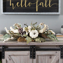 Cream Pumpkin and Greenery Floral Arrangement