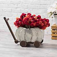 Cream Wooden Pumpkin Wagon