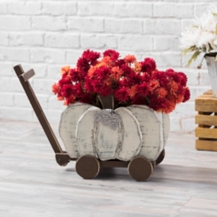 Cream Wooden Pumpkin Wagon