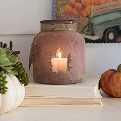 Frosted Brown Leaf Candle Holder