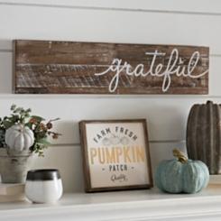Grateful Distressed Wood Plank Plaque