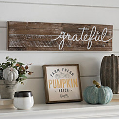 Grateful Distressed Wood Plank Plaque