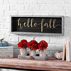 Hello Fall Black Wood and Galvanized Metal Plaque