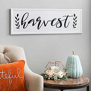 Black and White Harvest Metal Sign