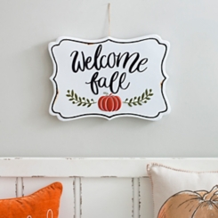 White Welcome Fall Metal Sign
