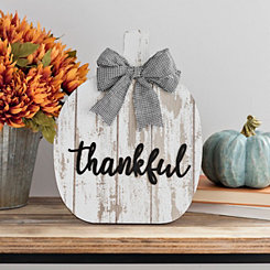 Thankful Pumpkin with Buffalo Check Bow Easel