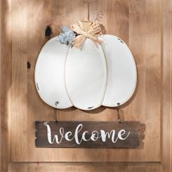 White Pumpkin Welcome Metal Sign