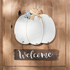 White Pumpkin Welcome Metal Sign
