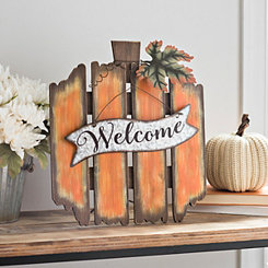 Orange Welcome Pumpkin Wood Easel