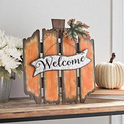 Orange Welcome Pumpkin Wood Easel