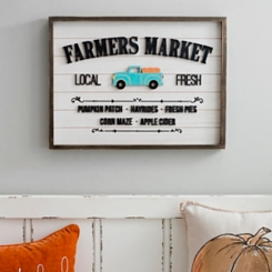 Farmers Market Blue Truck Plank Plaque