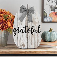 Grateful Pumpkin with Buffalo Check Bow Easel