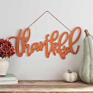 Orange Thankful Hanging Sign