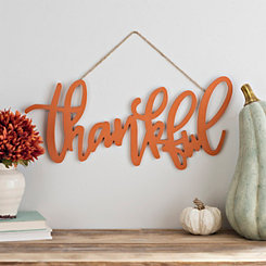 Orange Thankful Hanging Sign