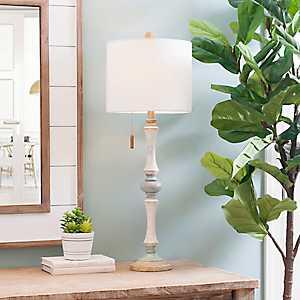 Distressed Trellis Pine Buffet Lamp