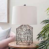 Abstract Wire Cube Table Lamp