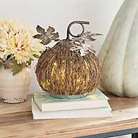Rattan LED Pumpkin with Metal Leaves, 10.25 in.