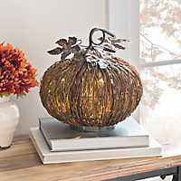 Rattan LED Pumpkin with Metal Leaves, 11 in.