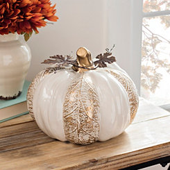 Cream and Gold Textured Pumpkin, 6.5 in.