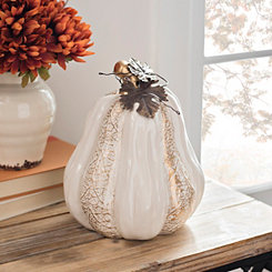Cream and Gold Textured Pumpkin, 8.8 in.