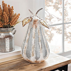 Cream and Galvanized Metal Pumpkin, 14 in.
