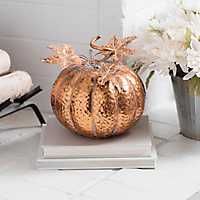 Copper Hammered Metal Pumpkin, 10 in.