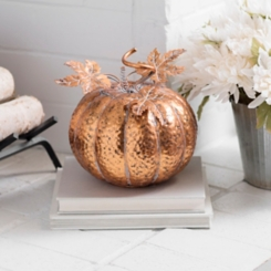 Copper Hammered Metal Pumpkin, 10 in.