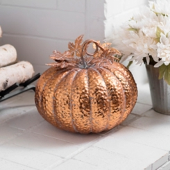 Copper Hammered Metal Pumpkin, 14 in.