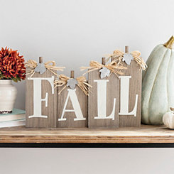 Fall with Metal Leaves Tabletop Sign