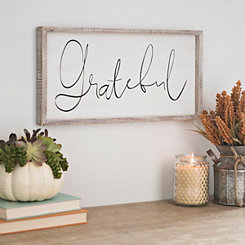 White and Natural Wood Grateful Plaque