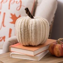 Cream Knit Pumpkin, 7 in.