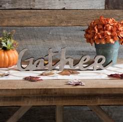 Gather Wood Cutout Sign