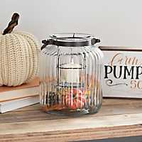 Glass Lantern with Fall Filler