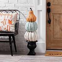 Orange, Blue, and Cream Pumpkin Topiary