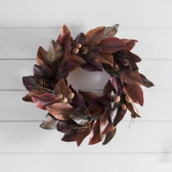 Brown and Burgundy Magnolia Fall Wreath
