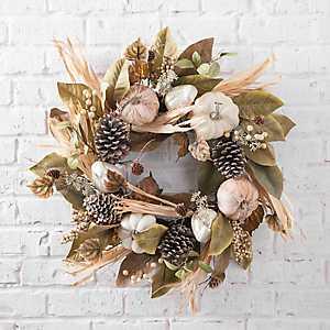 Pumpkin and Magnolia Fall Wreath