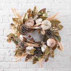 Pumpkin and Magnolia Fall Wreath