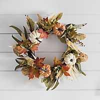 Pumpkin and Greenery Fall Wreath