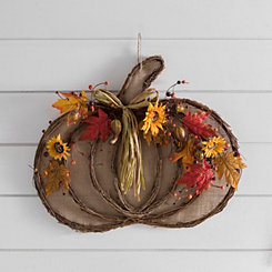 Rattan Pumpkin and Sunflower Wall Hanger