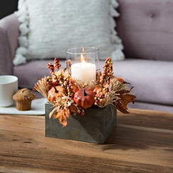 Wheat and Pumpkin Crate Centerpiece