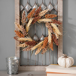 Orange Wheat Mix Fall Wreath
