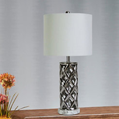 Nickel Plated Woven Cylinder Table Lamp