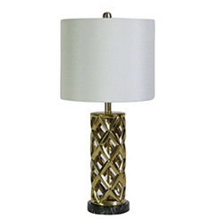 Gold Plated Woven Cylinder Table Lamp