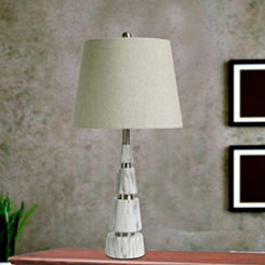 Faux Marble and Metal Pyramid Table Lamp