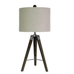 Weathered Gray Wooden Tripod Table Lamp