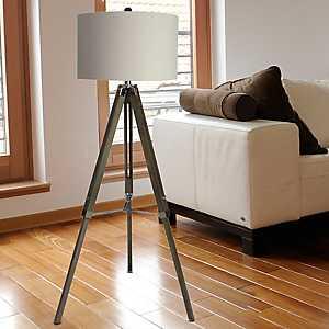 Weathered Gray Wooden Tripod Floor Lamp