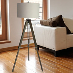Weathered Gray Wooden Tripod Floor Lamp