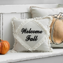 Cream Welcome Fall Fringe Pillow