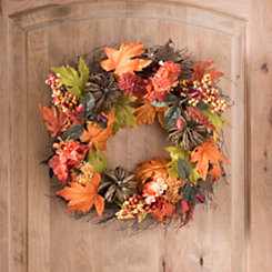 Pumpkin and Hydrangea Fall Wreath