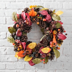 Fruit and Pine Cone Fall Wreath